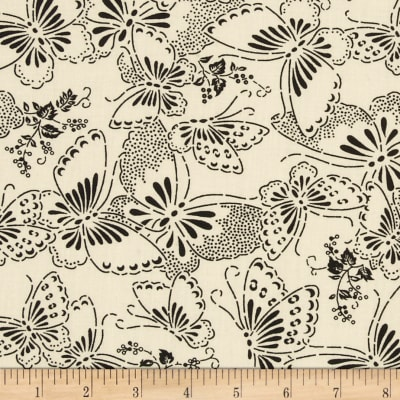 """110"""" Wide Quilt Backing Butterfly Cream/Black"""
