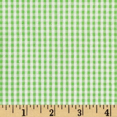 Seersucker Gingham Check Green/White