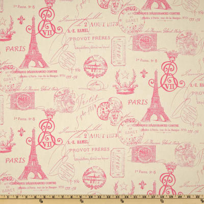 Premier Prints French Stamp Gumdrop Pink/Natural