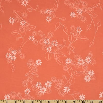 Bloom Embroidered Floral Jersey Knit Coral