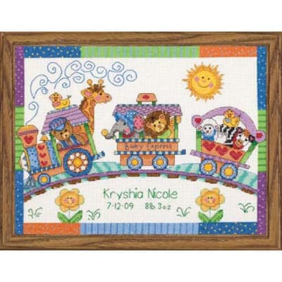 Dimensions Baby Hugs Baby Express Birth Record 12'' x 9'' Counted Cross Stitch Kit