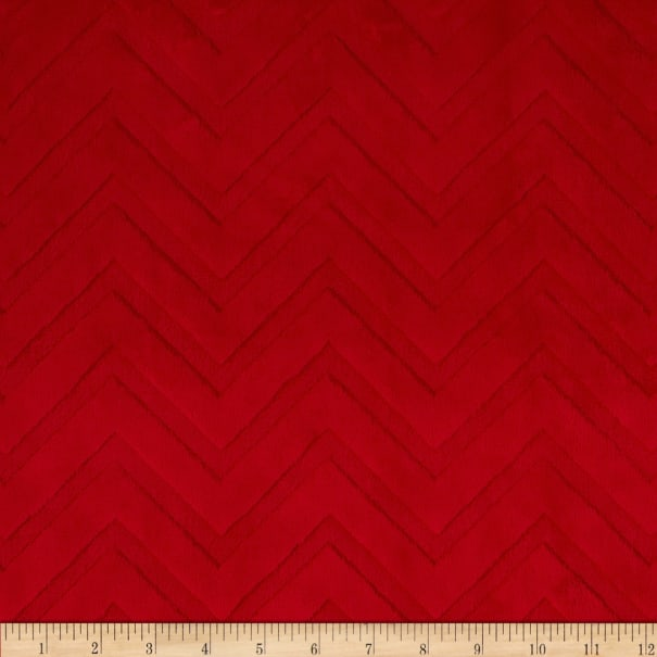 Shannon Minky Cuddle Embossed Chevron Red