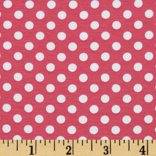 Stretch Knit Small Dots Hot Pink
