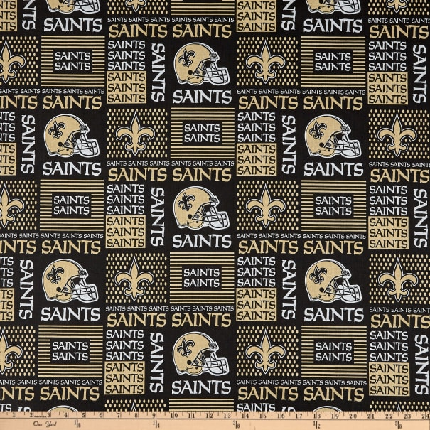 NFL Cotton Broadcloth New Orleans Saints Patchwork Black and Gold
