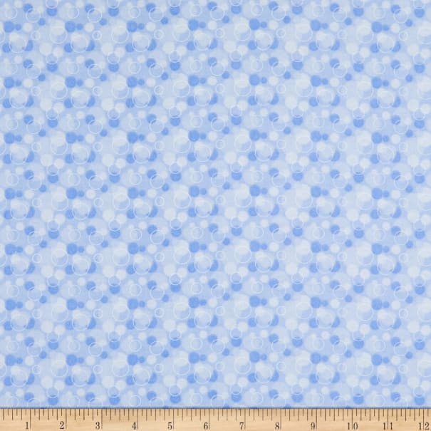 Flannel Tossed Bubbles Blue