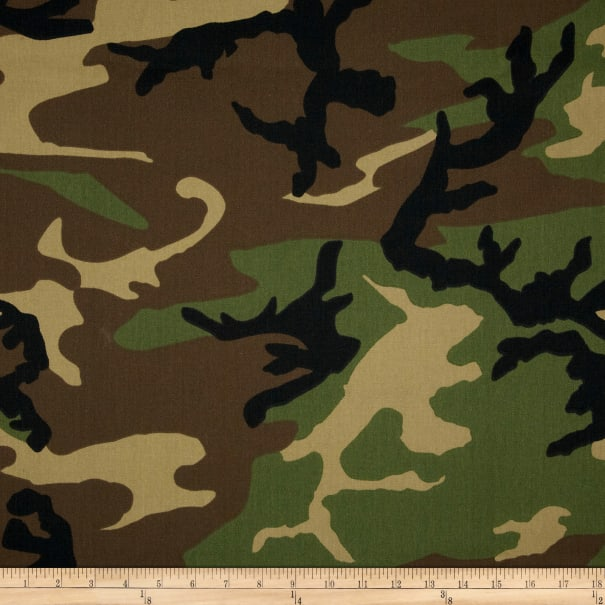 Poly/Cotton Twill Woodland Camouflage Brown/Green/Black