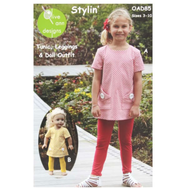 Olive Ann Designs Stylin' Tunic, Leggings & Doll Dress Pattern