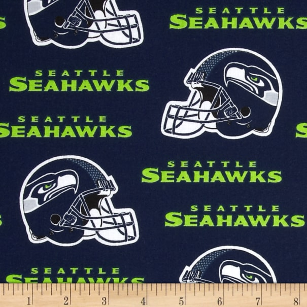 NFL Cotton Broadcloth Seattle Seahawks Blue/White