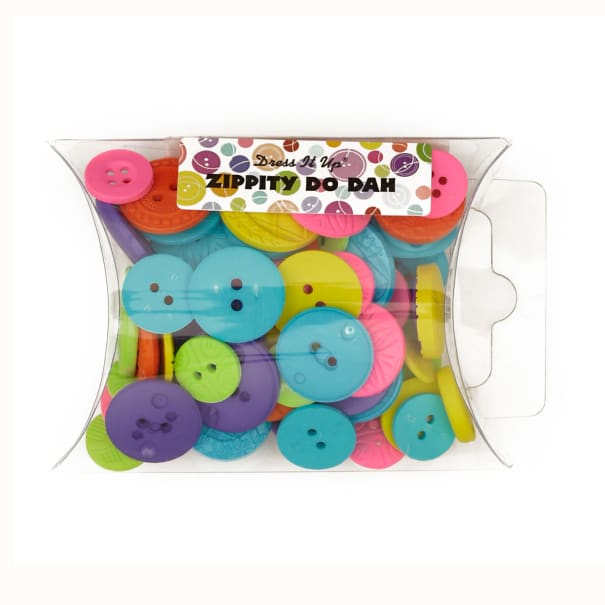 Dress It Up Color Me Collection Pillow Pack Buttons Zippity Do Dah Multi