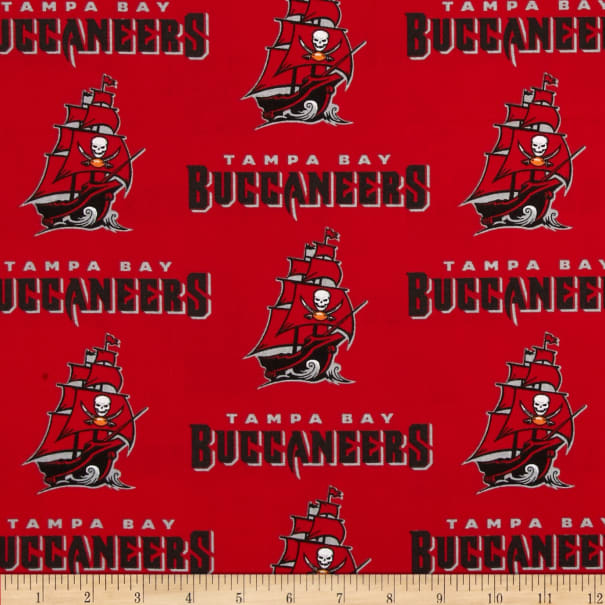 NFL Cotton Broadcloth Tampa Bay Buccaneers Red