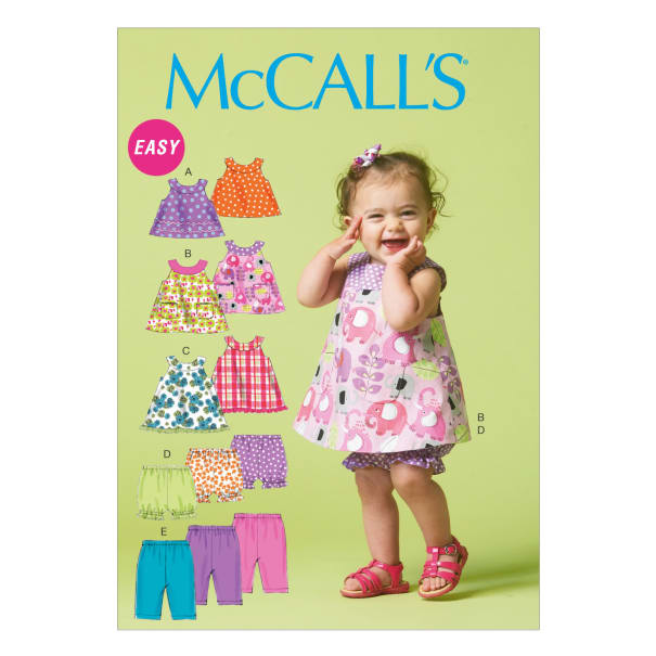McCall's M6912 Infants' Reversible Top, Dresses; Bloomers and Pants Pattern YA5 (Size NBN-SML-MED-LRG-XLG)