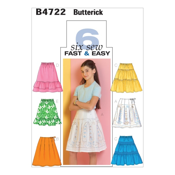 Butterick B4722 Girls' Skirt Pattern CH (Sizes 7-8-10)