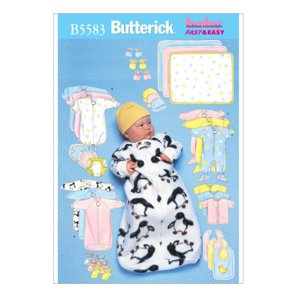 Butterick B5583 Infants' Bunting, Diaper Cover, Blanket Pattern Size LRG