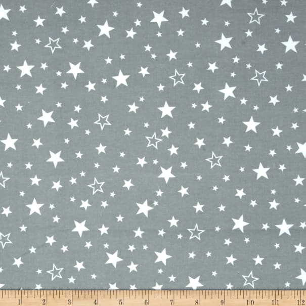 Kaufman Cozy Cotton Flannel Stars Grey