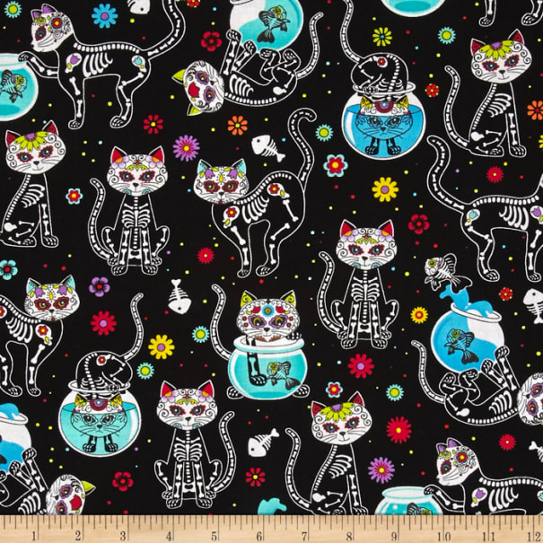 Timeless Treasures Day Of The Dead Kitty Black