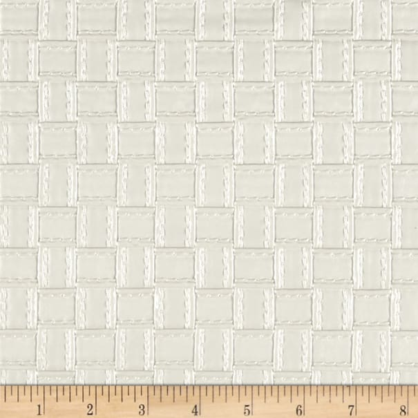 Faux Leather Basketweave White