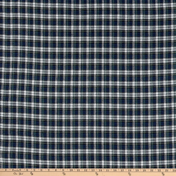 Yarn Dyed Flannel Plaid Green Navy White
