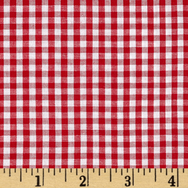 """Wide Width 1/8"""" Gingham Check Red/White"""