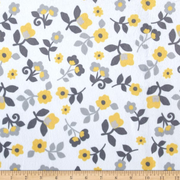 E.Z. Fabric Minky Kashmir Floral Grey/Yellow