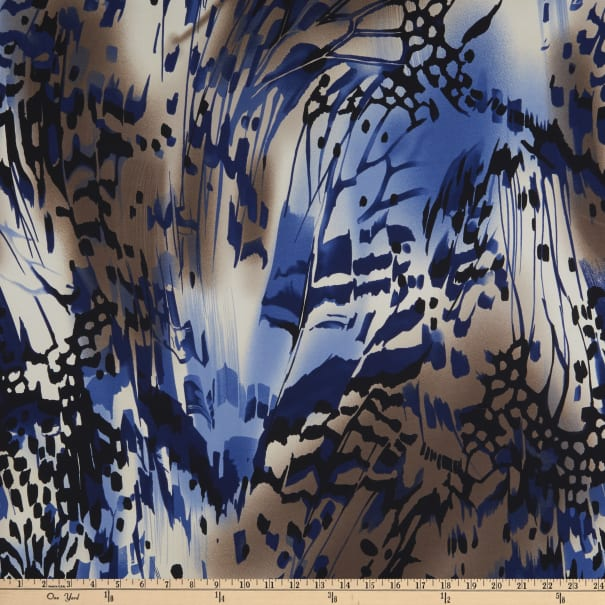 Telio Brazil Stretch ITY Knit Abstract Navy