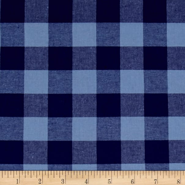 """Cotton + Steel Checkers Yarn Dyed Gingham Woven 1"""" Navy"""