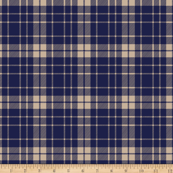 Bolt By Girl Charlee Pure Vintage Jersey Knit School Plaid Navy/Taupe