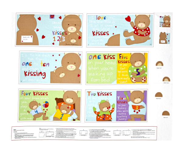 """Huggable & Loveable Count My Kisses Soft Book 35.5"""" Panel Multi"""