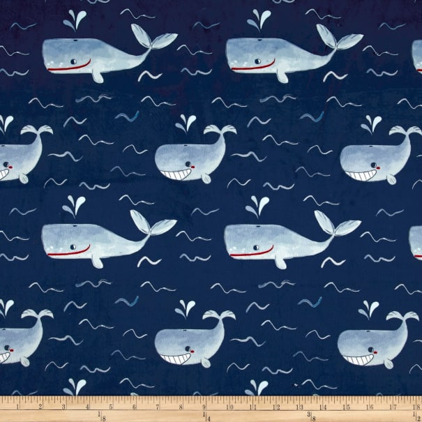 Michael Miller Minky Whales Whales Navy