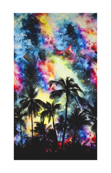 "Raving Tides Digital Palm Tree Silhouette 27.5"" Panel Fundamentals"