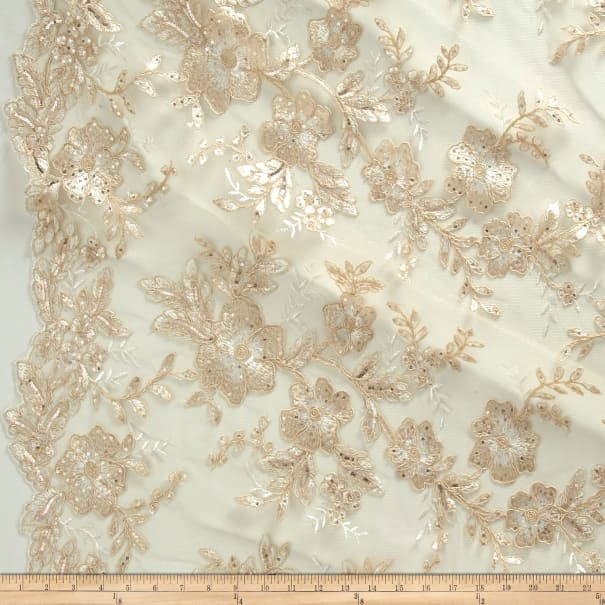 Stretch Floral Embroidered Mesh Lace Champagne