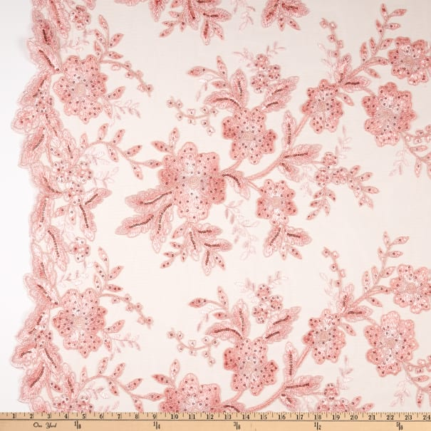 Two Tone Mesh Lace Embroidered Lace Blush Pink