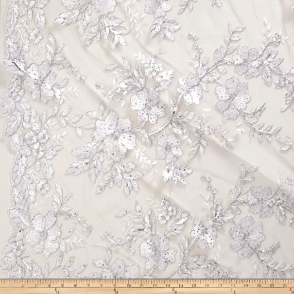 Stretch Floral Embroidered Mesh Lace Silver