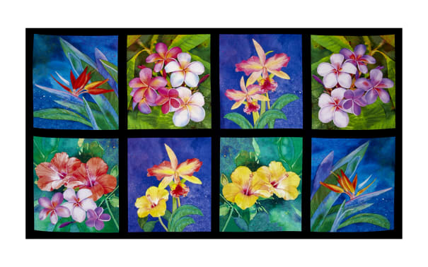 Kaufman Island Sanctuary Digital Tea Cups, Tropical Panel,Tropical Flowers