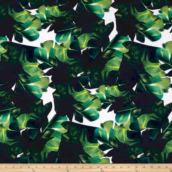 Pine Crest Fabrics Jungle Leaves on Olympus Athletic Double Stretch Knit Green