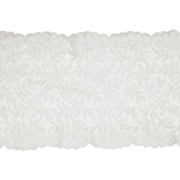 """7.5"""" Laurie Chantilly Stretch Lace Trim Ivory"""