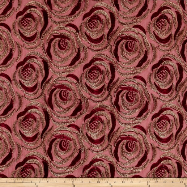 Embroidered Rose Netting Ruby Red and Golden Tan
