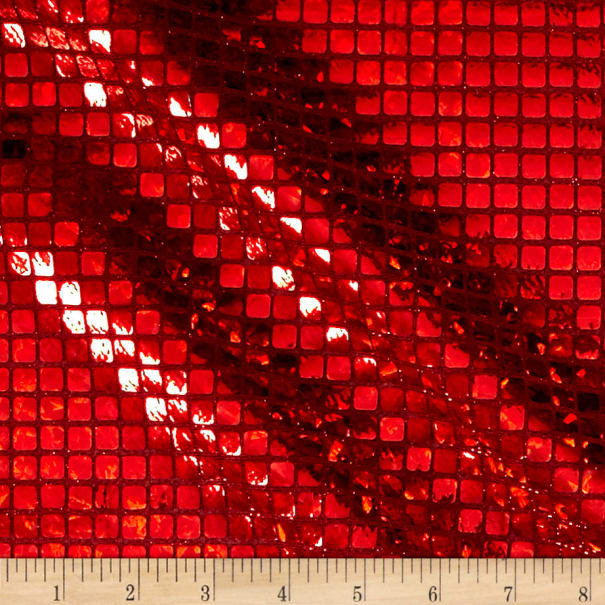 Faux Sequin Hologram Square Mesh Red