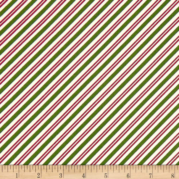 Maywood Studio Christmas Joys Flannel Candy Cane Stripe Green Red