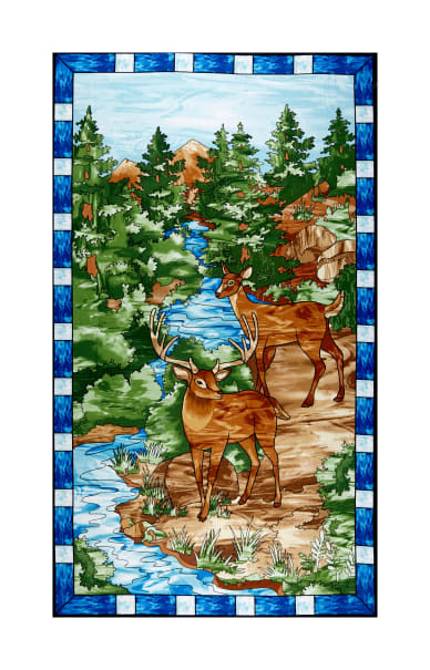 """Mosaic Forest 24"""" Panel Blue"""