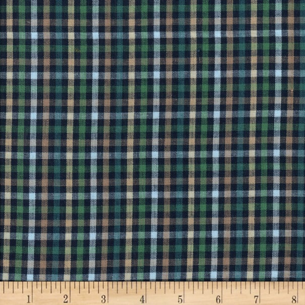 Rustic Woven Check Navy/Taupe/Grn/Lt Blu