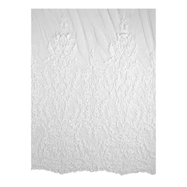 Telio Edythe Corded Embroidered Lace Mesh Lace Floral White