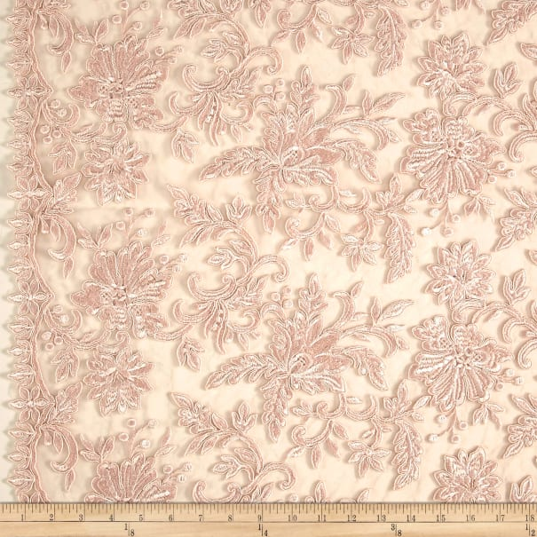 Telio Fantinet Corded Embroidered Lace Mesh Lace Floral Blush