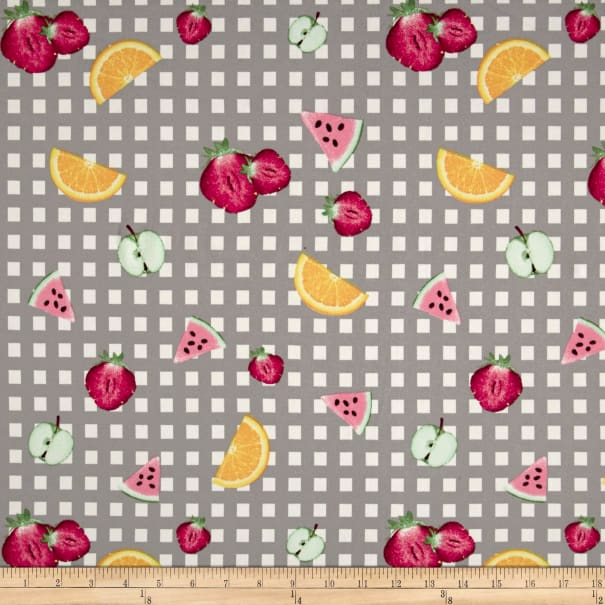 Double Brushed Jersey Knit Gingham Fruit Party Gray