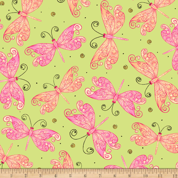 Ink & Arrow Aziza Butterflies Light Green