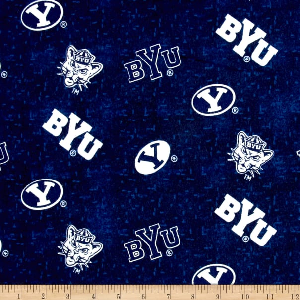 NCAA Brigham Young Cougars Distressed Logo Flannel