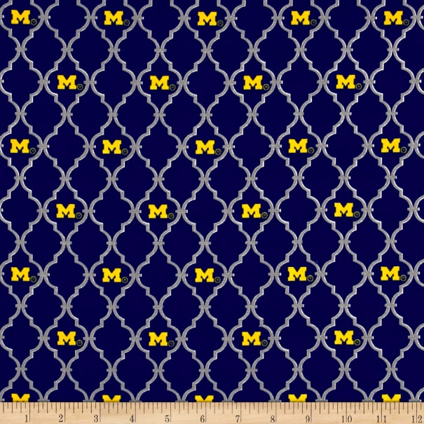 UNIVERSITY OF MICHIGAN U of M GO BLUE COTTON FABRIC FQ
