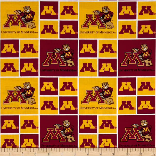NCAA Minnesota Golden Gophers Patches Allover Red/Yellow