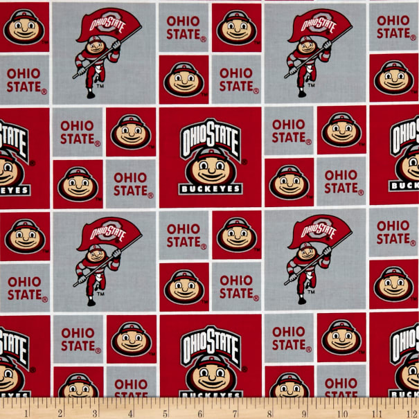 NCAA Ohio State Buckeyes Patches Allover Red/White
