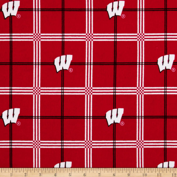 NCAA Wisconsin Badgers Flannel Plaid Red/Black