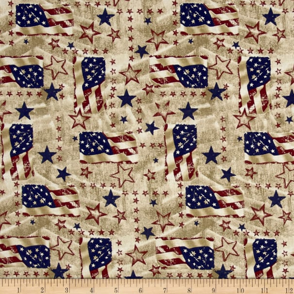 Antique Patriotic USA Icons Cotton Fabric by the Yard Made in the U.S.A